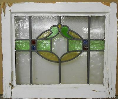 """OLD ENGLISH LEADED STAINED GLASS WINDOW Beautiful Abstract 20.25"""" x 17"""""""