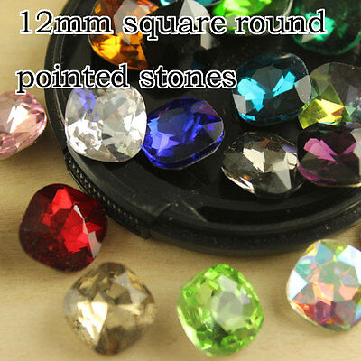 36 12mm faceted glass Rhinestone point foiled back Square Stone Crystal beads pk