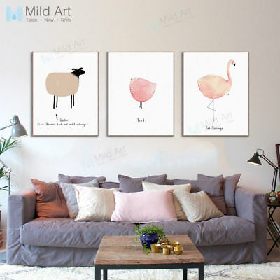 Cute Watercolor Animal A4 Art Print Poster Modern Kids Room Deco Canvas Painting