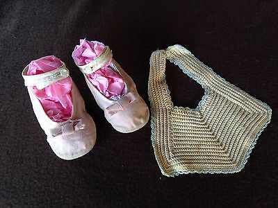Vintage Pink Linen Baby Shoes and Crocheted Bib