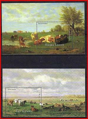DUTCH PAINTINGS with COWS x2 S/S MNH ANIMALS, CATTLE (K-J18)