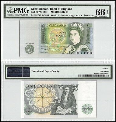 Great Britain 1 Pound, ND 1981-84, P-377b, UNC, I Newton, QEII, PMG 66 EPQ