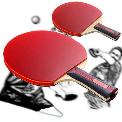 Ping Pong Short/Long Handle Double-Side Rubber Table Tennis Racket Bat Paddle