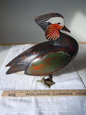 Hand Carved by SARRIED LTD MADE IN ITALY~ MANDARIAN DUCK DECOY #63 ~INV#1075