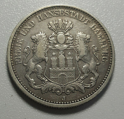 1876 J German States HAMBURG 2 Mark KM# 604 Silver Coin