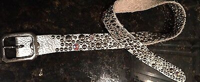 Silver Leather Rhinestone and Studded Girl's Belt-35 inches