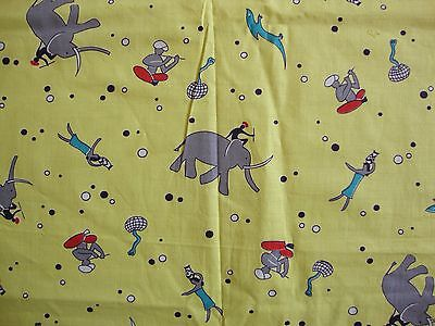 "Vintage Novelty Cotton Fabric 35"" x 3/4 Yards Elephants Cobras India"