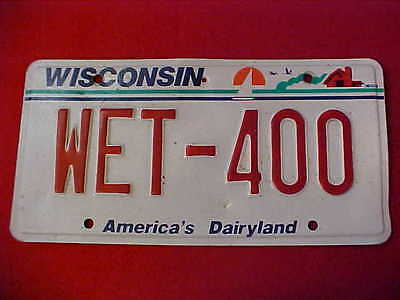 "State Of Wisconsin Passenger License Plate Number ""wet-400"""