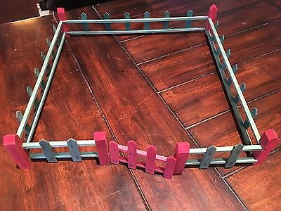 """Vintage 1930's Putz Village Green, Red Fence Fencing, Gate,11 Pieces, 19"""" Square"""