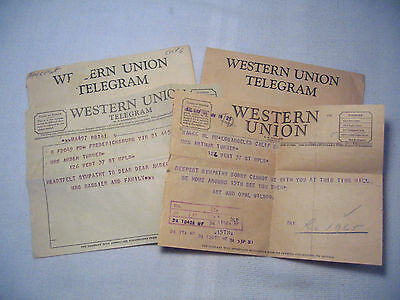 2 WESTERN UNION TELEGRAMS with ENVELOPES – 1946 and 1960