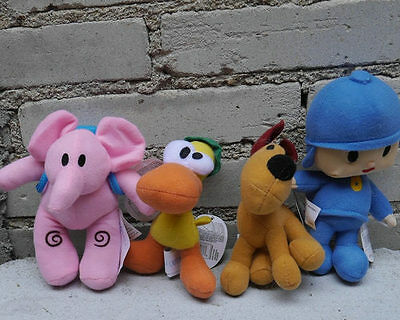 New Pocoyo Friends Elly Loula Pato Stuffed SET OF 4 PCS Plush dolls