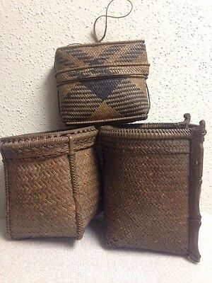 Antique Tribal Dayak Woven Basket Lot Indonesian Borneo .