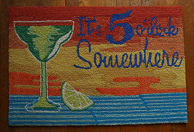 It's 5 O'clock Somewhere Margarita Hand Tufted Rug Tiki Beach Bar Mat Decor NEW