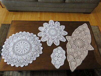 Lot Of 4 Vintage Crochet Doily - White -  Beige -  Assorted Sizes (Cutters)