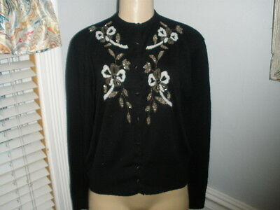 """Vintage Black Beaded Cardigan Sweater Pin Up Rockabilly Large Bust 44"""" !"""