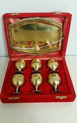 Set of Six Vintage Brass Mini Goblets/Cups with Tray from India (1960s -1970s)