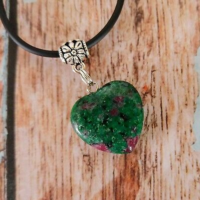 Ruby in Fuchsite Gemstone Heart Pendant Necklace