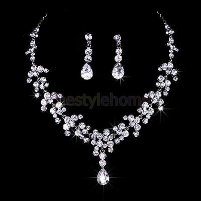 Bridal Wedding Party Crystal Rhinestone Necklace Dangle Earrings Jewelry Set