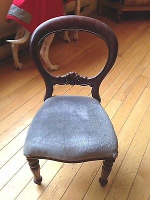 VICTORIAN WOOD & VELVET DOLL CHAIR 18 inches