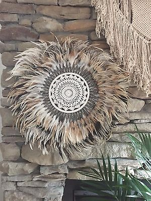 Boho Crochet Feather Shell JUJU Hat Plume Handcrafted Wall Hanging Decor