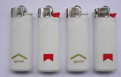 Lot 4 Vintage MARLBORO Bic Lighters Classic & Gold NEW Old Stock # Free Shipping