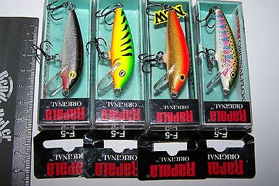 RAPALA FISHING LURES LOT OF 4, F-5  FLOATING MINNOW  Trout, Perch, Bream, Bass.