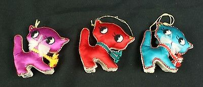 vintage Set of Three embroidery Cat Ornaments