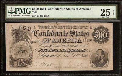 1864 $500 Dollar Bill Confederate States Currency Civil War Note Money T-64 Pmg