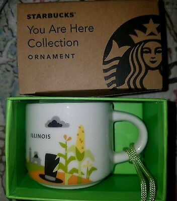 Starbucks Illinois YAH Demi Mug Ornament You Are Here New Espresso Demitasse