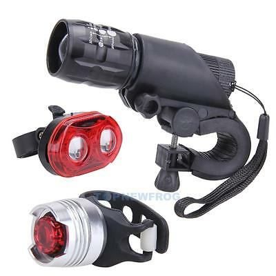 Quick Release Bike Bicycle Front Head Light Headlight Lamp +Rear Tail flashlight