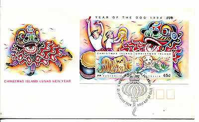 Christmas Island 1994 Year of the Dog MS FDC
