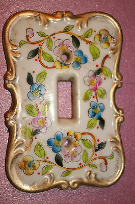 Vintage Porcelain Floral Single Light Switch Plate Outlet Cover