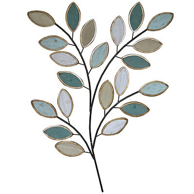 Spray Of Leaves Wood Burnished Metal Wall Art 106cm | Hanging Sculpture