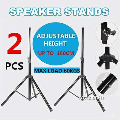 Speaker Stand Kit Metal Tripod Adjustable Height Strong Locking Pair PA DJ Disco