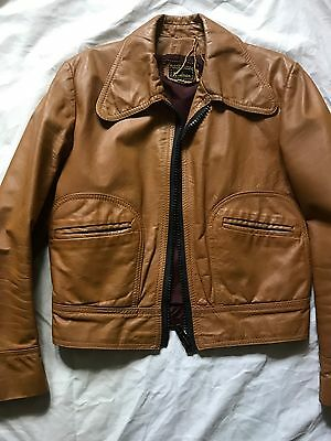 Vintage Sharpie style 70s Tan Leather waisted jacket