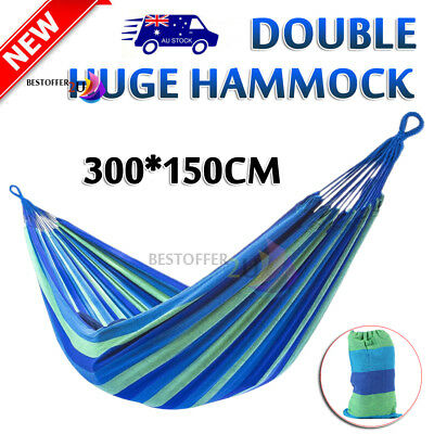 150*300cm Double Cotton Fabric Hammock Air Chair Hanging Swinging Camping Blue