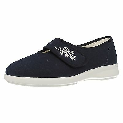 Ladies Db Easy B Flat Riptape Strap Wide Fit Navy Casual Canvas Shoes Sandy