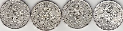 George VI, A Collection of 4 Two Shillings Coins, Various Dates, Good Grade.