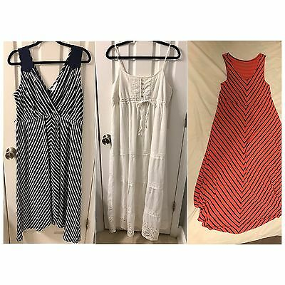 Lot of 3 Maternity Dresses Sz M & XL Motherhood Maternity & Liz Lange Sleeveless