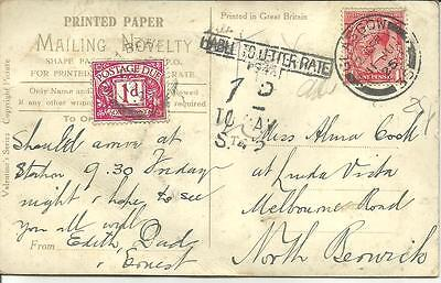 NOVELTY POSTCARD GLASGOW CACHET Liable to Letter Rate POSTAGE DUE CACHET 1925