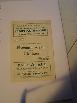 Plymouth Argyle res v  Chelsea reserves Combination 49/50 programme