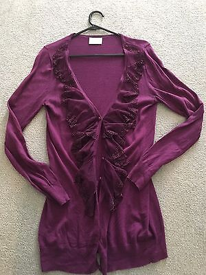 Medium Purple Review Cardigan With Lace And Beading Embellishment