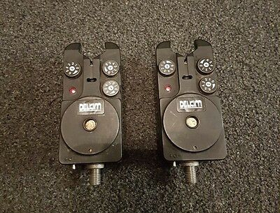 2 x DELKIM Standard Bite Alarms In Red Excellent Condition - Carp Tackle