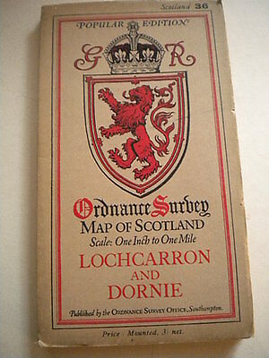 Antique ordnance survey map, Lochcarron and Dornie dated 1929, cloth backed