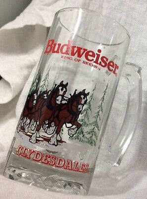 1989 Budweiser Beer Mug Clydesdale Horses Clear Glass Stein Christmas King Beers