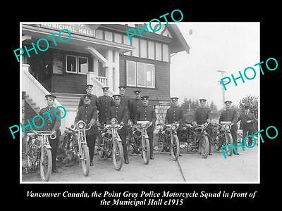 OLD HISTORIC PHOTO OF VANCOUVER CANADA, POINT GREY POLICE MOTORCYCLE SQUAD c1915