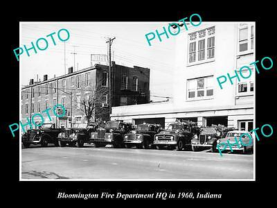 Old Large Historic Photo Of Bloomington Indiana Fire Department Hq & Trucks 1960