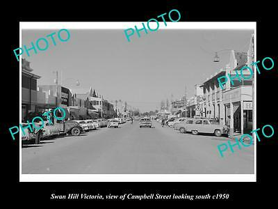 OLD LARGE HISTORIC PHOTO OF SWAN HILL VICTORIA, VIEW OF CAMPBELL St & SHOPS 1950
