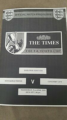 Newcastle United v Coventry City Youth Cup Semi Final 98/99