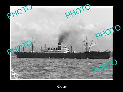 OLD LARGE HISTORIC MERCHANT SHIP PHOTO OF THE STEAMSHIP SS GRACIA c1920s